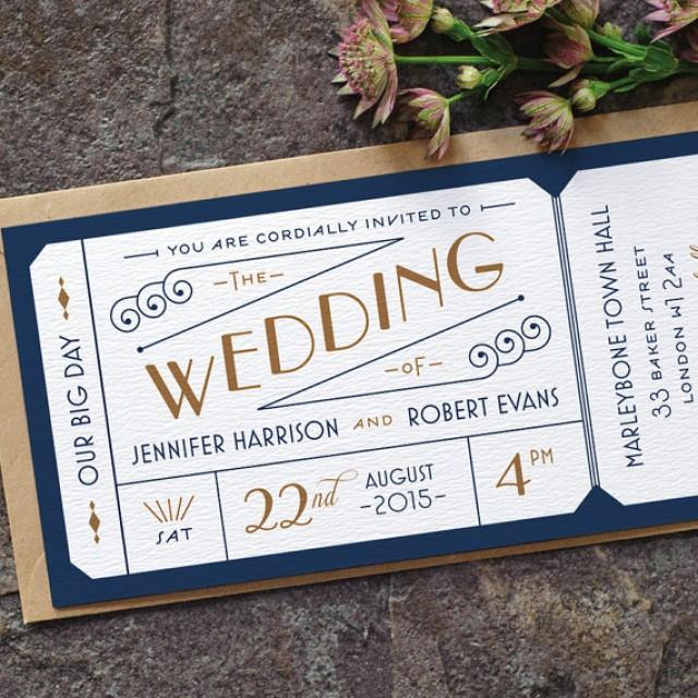 Formal Admission Ticket Wedding Invitation Just The Ticket Art – Navy Blue and Gold Wedding Invitations