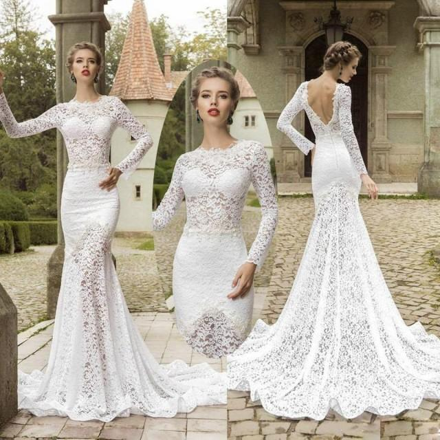 Elegant long sleeve lace mermaid wedding dresses backless for Crew neck wedding dress