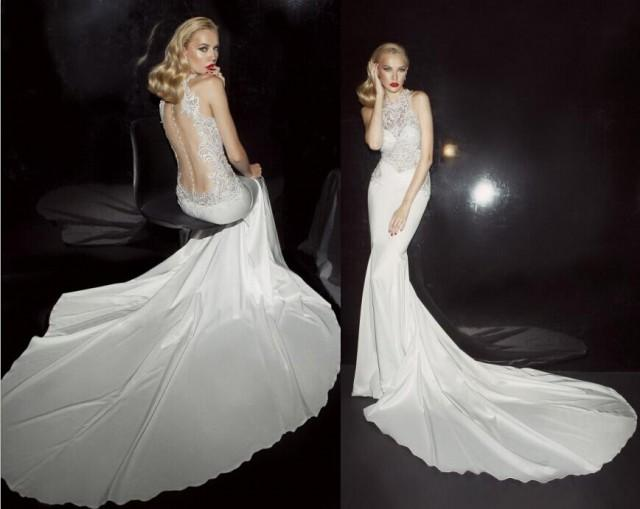2015 New Arrival Sexy See Through Mermaid Wedding Dresses Applique Beaded Backless Crew Neck