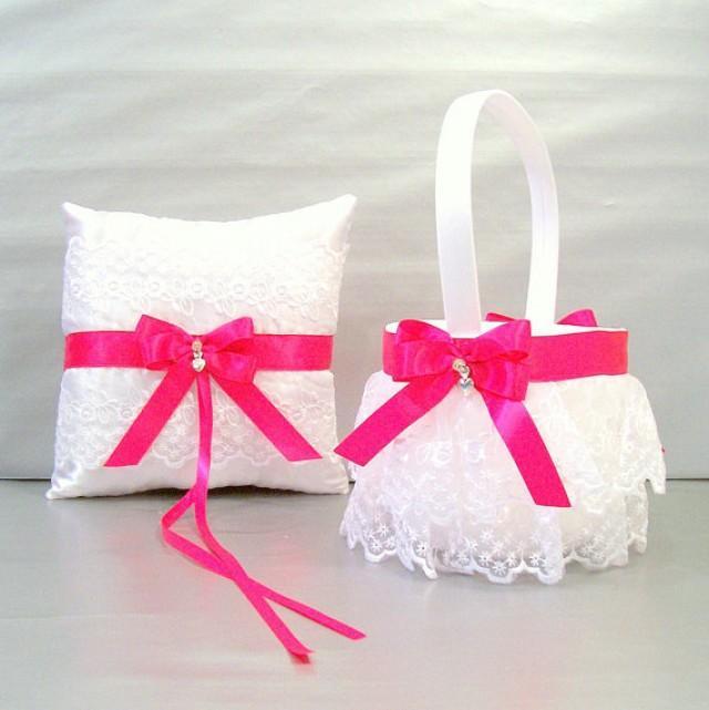 fuchsia pink wedding bridal flower girl basket and ring bearer pillow set on ivory or white. Black Bedroom Furniture Sets. Home Design Ideas