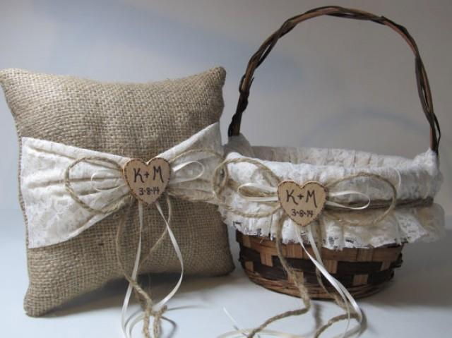 Flower Girl Baskets Burlap And Lace : Burlap and ivory lace flower girl basket ring bearer