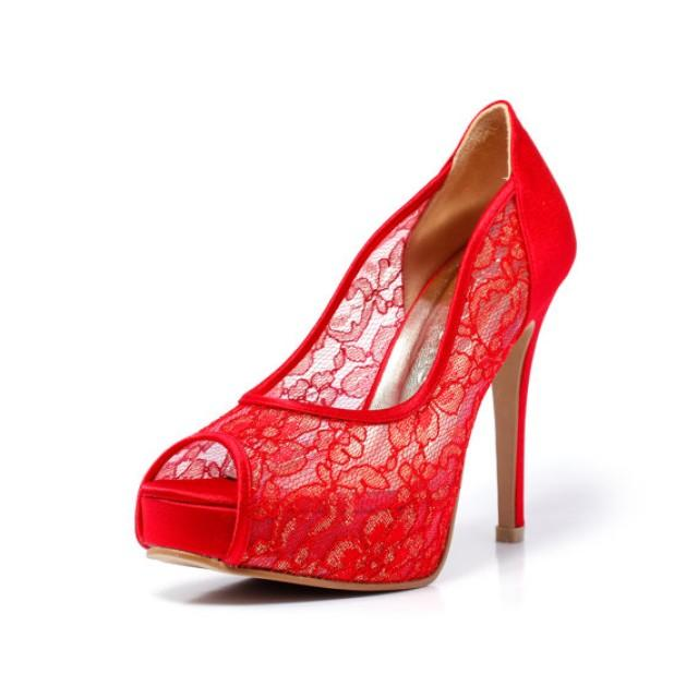 Red Satin Bridal Shoes