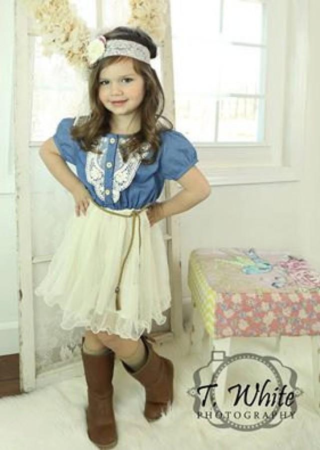 Denim Toddler Girls Tutu Dress Vintage Dress Rustic