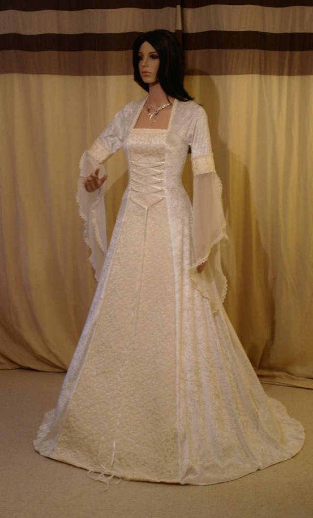 Ivory wedding dress medieval dress wedding dress for Medieval style wedding dress