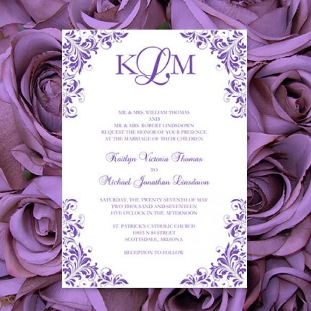Purple Wedding Invitations Kaitlyn Printable Templates Make Your Own Invitations All Colors Av