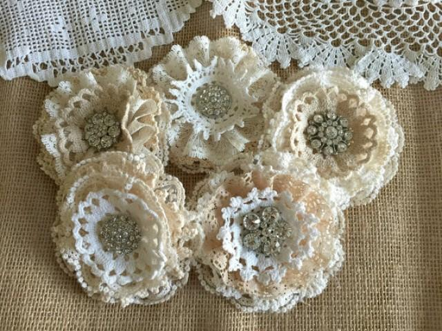 wedding photo - shabby chic lace handmade flowers