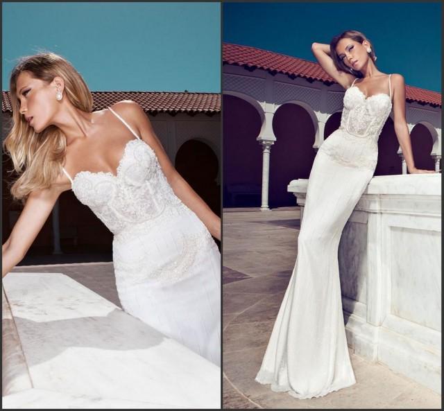 Hot Selling Spaghetti Mermaid Wedding Dresses 2015 Applique Lace Vestido De N