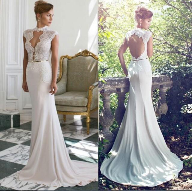 Elegant 2015 new arrival sexy julie vino slime a line for Backless wedding dresses online