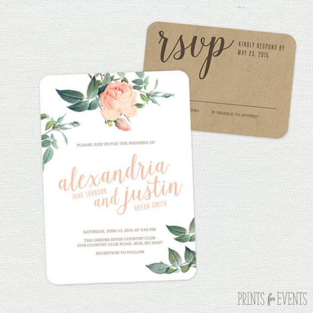 vintage floral wedding invitation suite printable