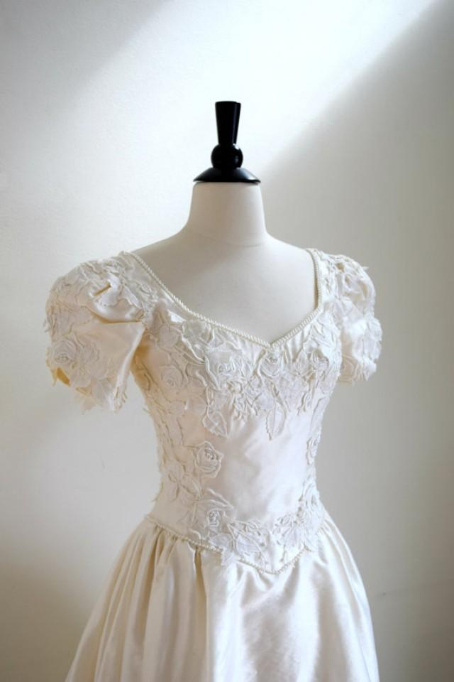 Vintage beaded ivory taffeta lace wedding gown short for Beaded short wedding dress