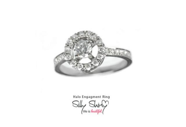 Classic Halo Engagement Diamond Ring 0 65ct 14K Gold Small Engagement Ring