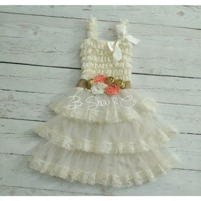 Lace Flower Girl Dress- Rustic Flower Girl Dress- Vintage Baby ...