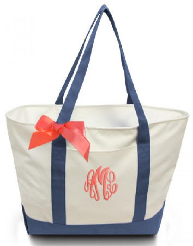 personalized giant boat tote with ribbon bow