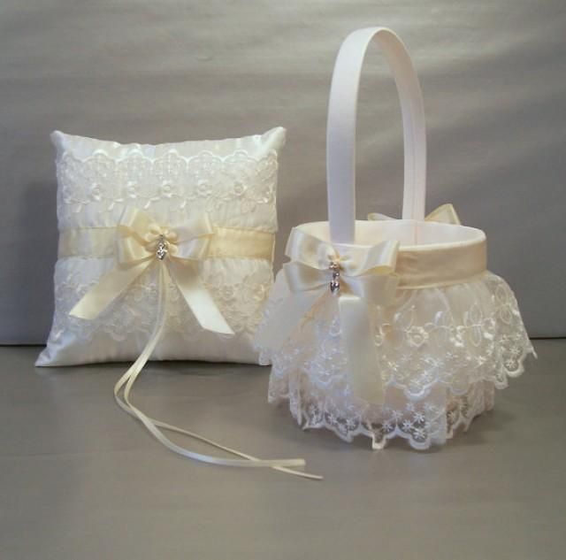 Wedding Bridal Flower Girl Basket And Ring Bearer Pillow Set Ivory