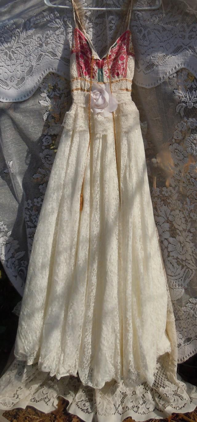 Boho wedding dress ivory cream vintage tulle bohemian for Hippie vintage wedding dresses