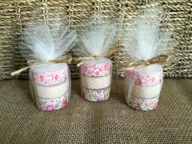wedding photo - rustic wedding favor, tea light candles