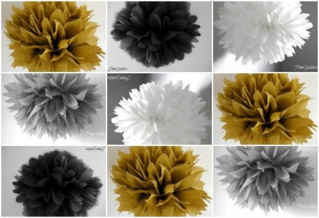 10 Tissue Poms 50th Wedding Anniversary Decorgraduation Party Decorations Gold Black White 2251233