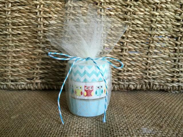 wedding photo - owl baby shower tea light favors.