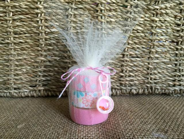 wedding photo - pink baby shower tea light favors.