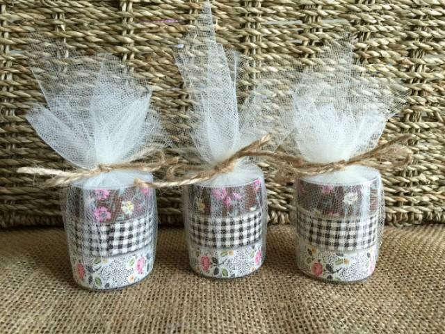 wedding photo - ustic wedding tea light candle favors