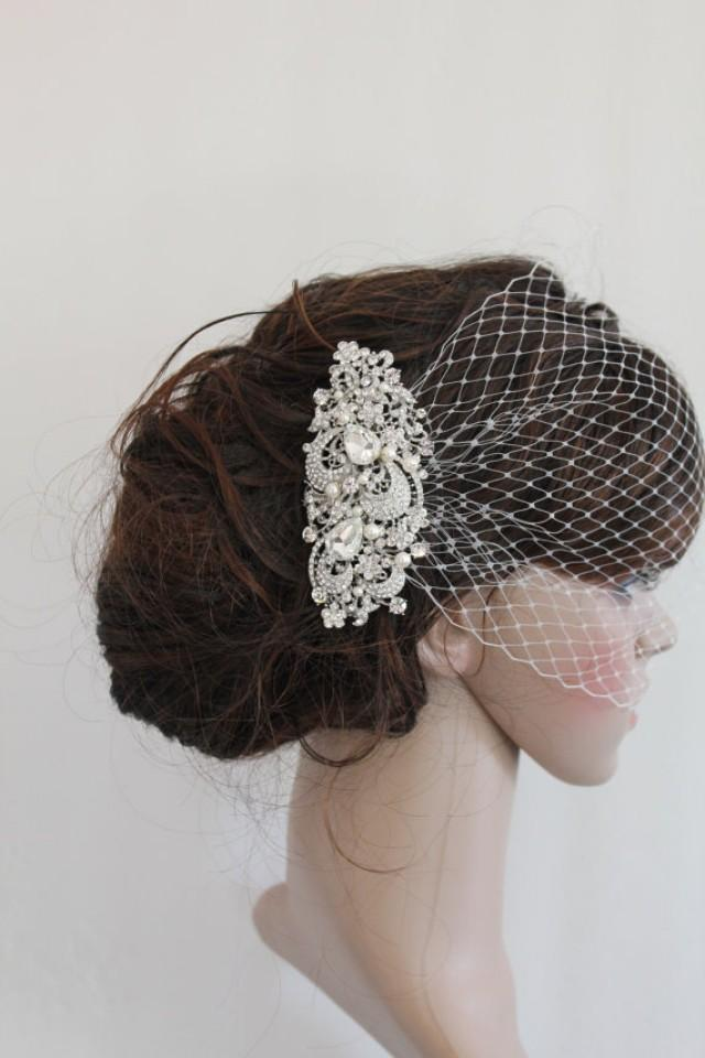 Bridal Veil And Bridal CombWedding Birdcage VeilBlusher Bird Cage VeilRhinestone Fascinator