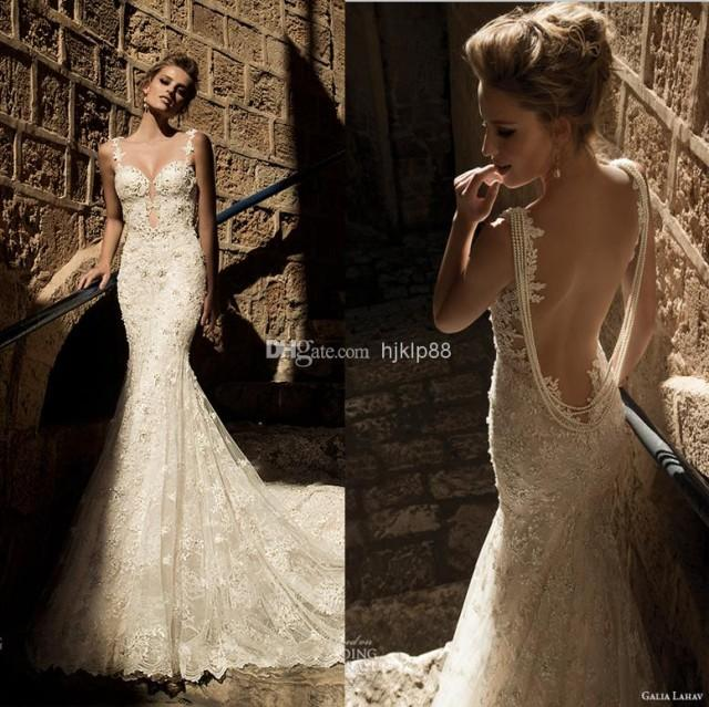 2015 new arrival sexy backless galia lahav wedding dresses for Vintage backless wedding dresses
