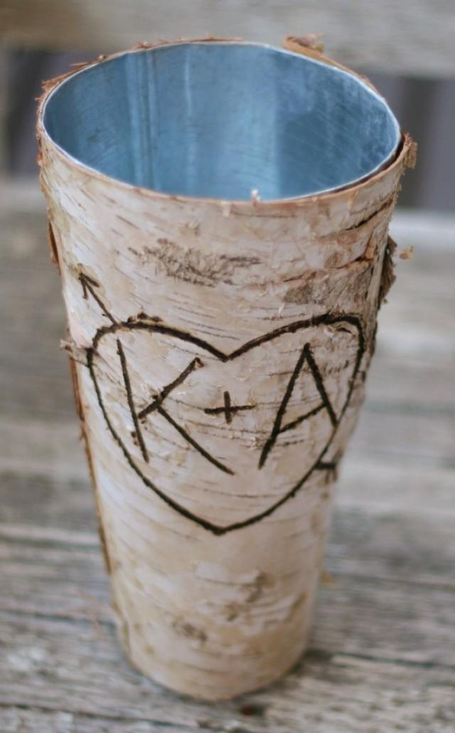 Birch vase centerpiece bride bouquet flower arrangement for Wood vases for centerpieces