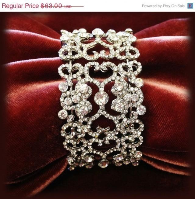 bridal bracelet bridal cuff crystal cuff vintage