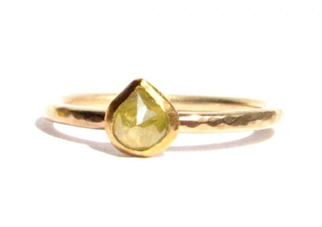 Rose Cut Diamond & Solid Gold Ring Tear Drop Shape Thin Gold Ring S