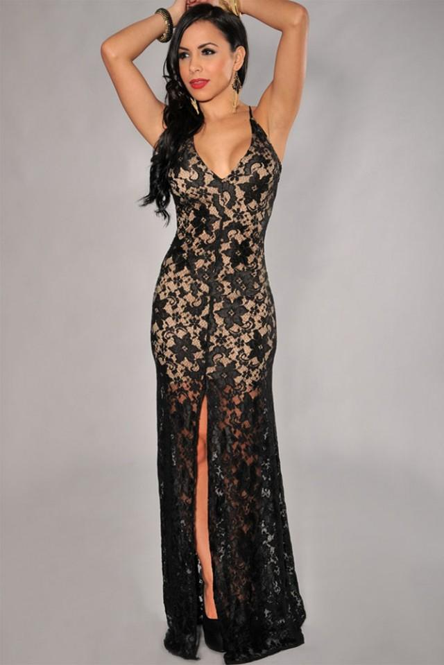 wedding photo - Lace Nude Illusion High Slit Black Evening Dress