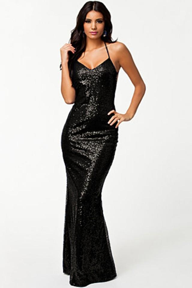 wedding photo - Black All oveAll Over Sequin Cross Low Back Black Gownr Sequin Low Back Gown