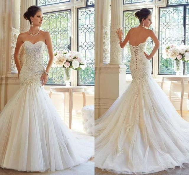 2015 fashion elegant sweetheart white tulle appliqued lace for Tulle and organza wedding dresses