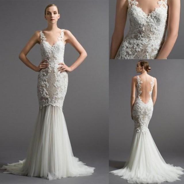 2015 New Beautiful Lace Appliques Wedding Gowns Straps V