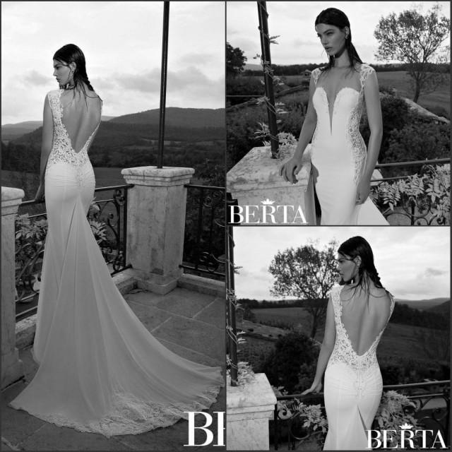 Romantic berta 2015 mermaid wedding dresses sweetheart for Backless wedding dress bra