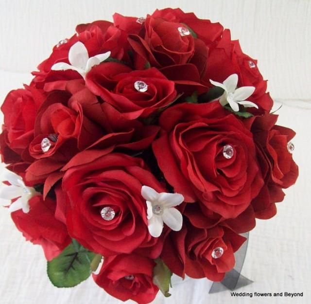 Valentines Day Silk Bridal Bouquet Wedding Flower Package Red White And Black Wedding Flowers