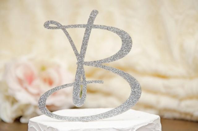 Personalized Monogram Glitter Wedding Cake Topper