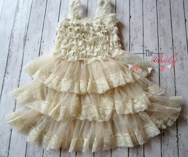 Baby girl cream ruffle lace petti dress vintage look for 12 month dresses for wedding