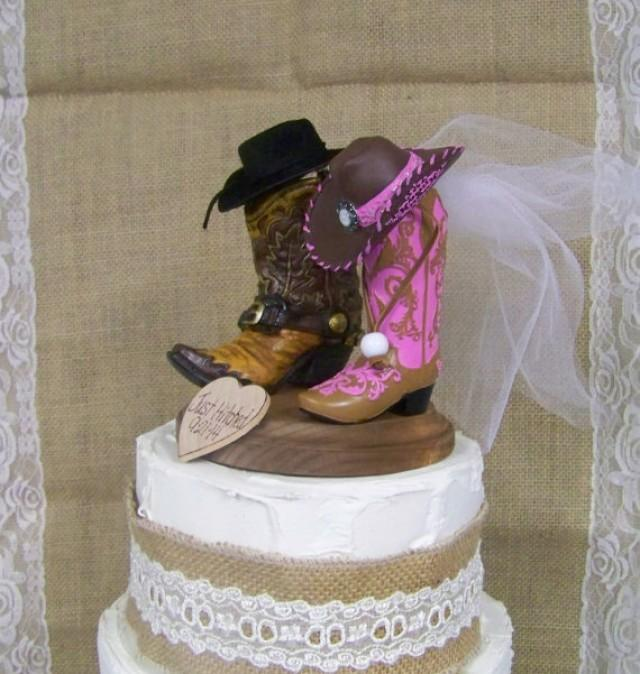 Rustic Cake Topper-His And Her Western Cowboy Boots-Wedding Cake ...