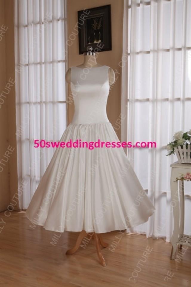 Modest Wedding Dress 1950 50s Short Tea Length Cream Mod Item Name Sophie 2253423