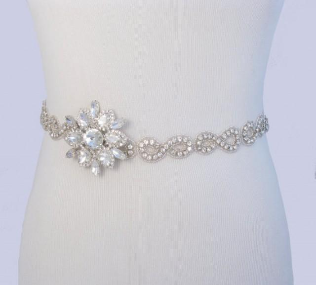 Infinity crystal satin sash beaded rhinestone bridal belt for Satin belt for wedding dress