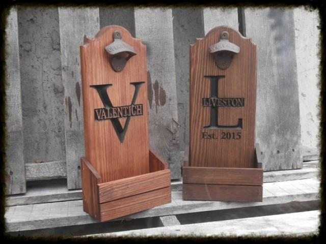 bottle opener with cap catcher personalized man cave fathers day gift for him wooden beer. Black Bedroom Furniture Sets. Home Design Ideas