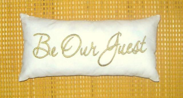 Off be our guest pillow cushion lumber embroidered