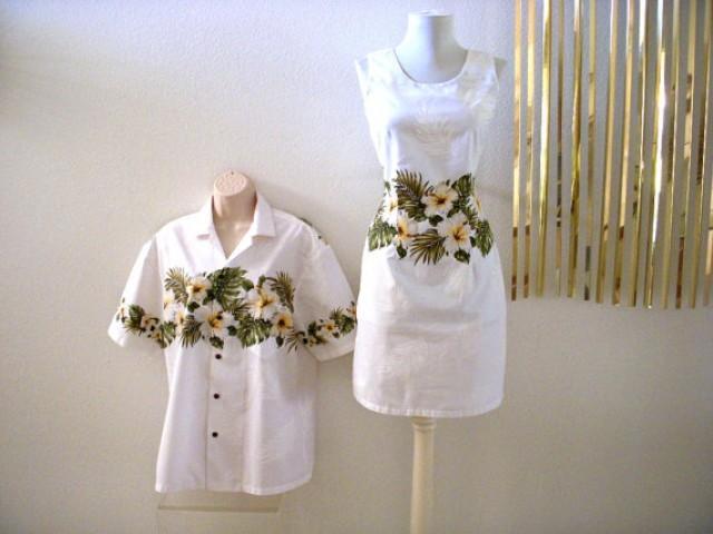Stunning White Hawaiian WEDDING Dress And Matching Mens Shirt