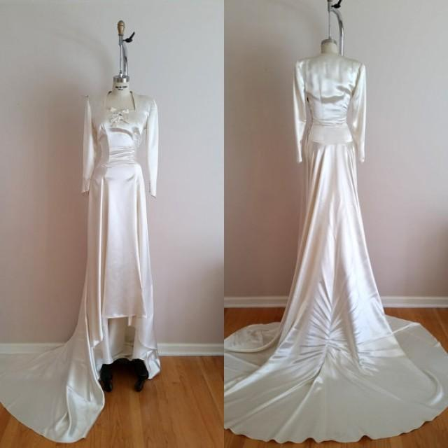 Vintage Wedding Dresses Five Dock : Wedding gown vintage s silk satin dress