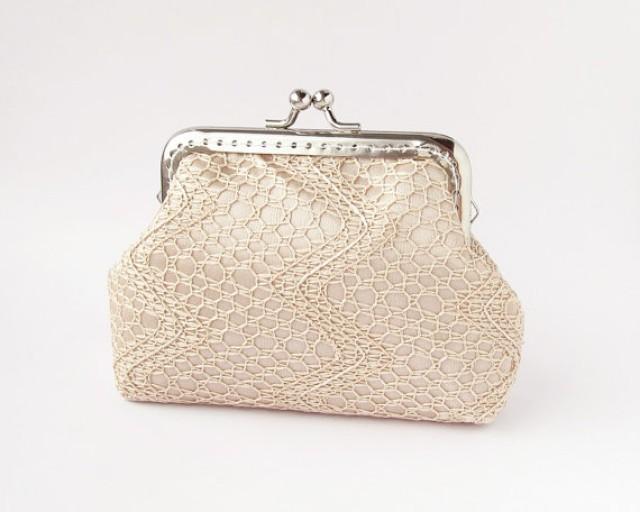 Beige wedding purse lace bridal small clutch 2254102 weddbook