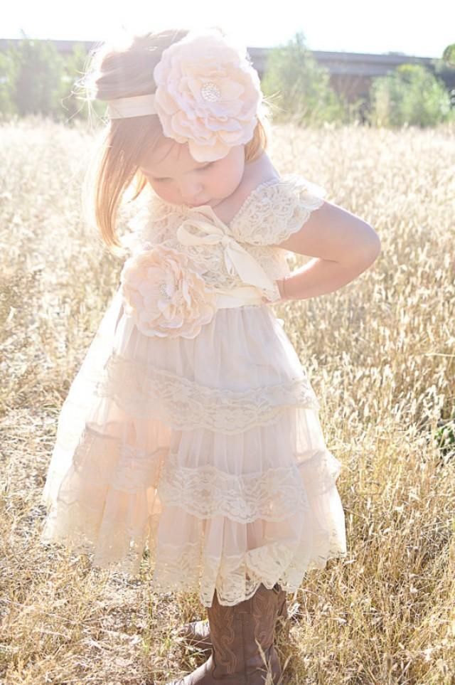 Ivory lace flower girl dress ivory lace baby doll dress for Country wedding flower girl dresses