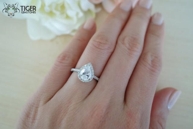 1 5 carat pear cut halo engagement ring vintage style