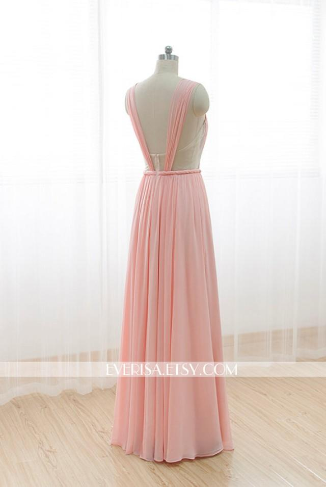 Blush Pink Chiffon Bridesmaid Dress Long Prom Dress See ...
