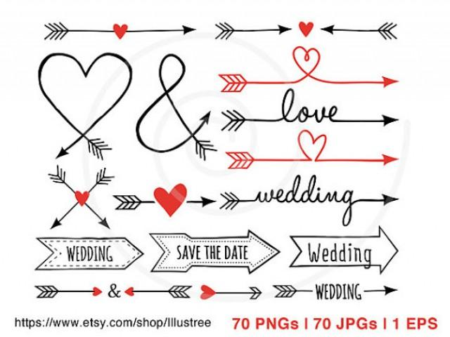 Wedding Clip Art, 70 Hand-drawn Arrows, Digital Clipart Set, Clip Art ...