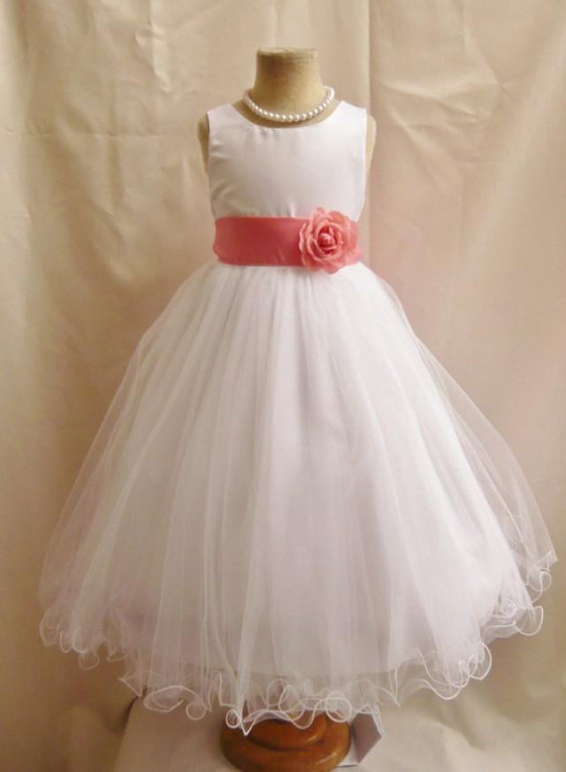Flower Girl Dresses White With Guava Or Coral Fd0fl